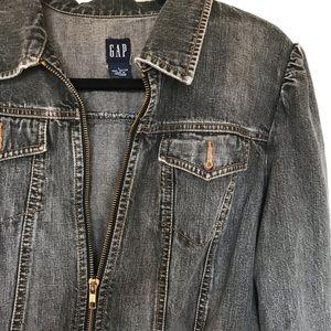 Women's Gap Fem Zippered Black Jean Jacket